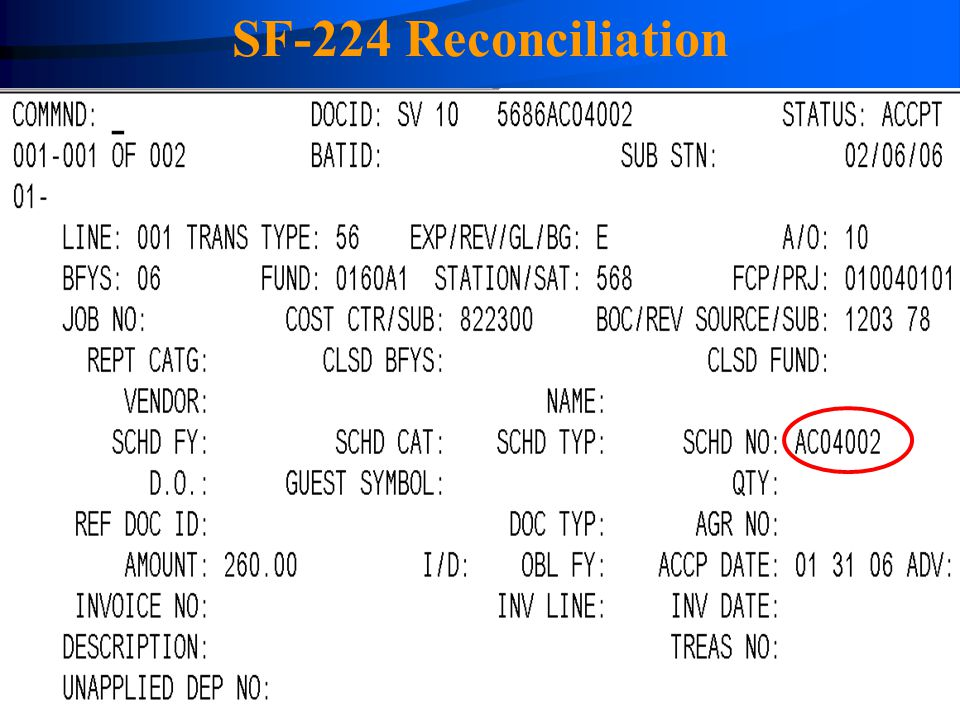 4/14/2017 SF-224 Reconciliation The SV transaction showing the Schedule Number field.