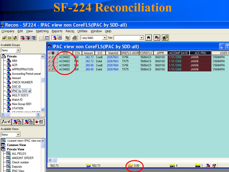 4/14/2017 SF-224 Reconciliation FASMatch system showing the matched transactions netting to zero.