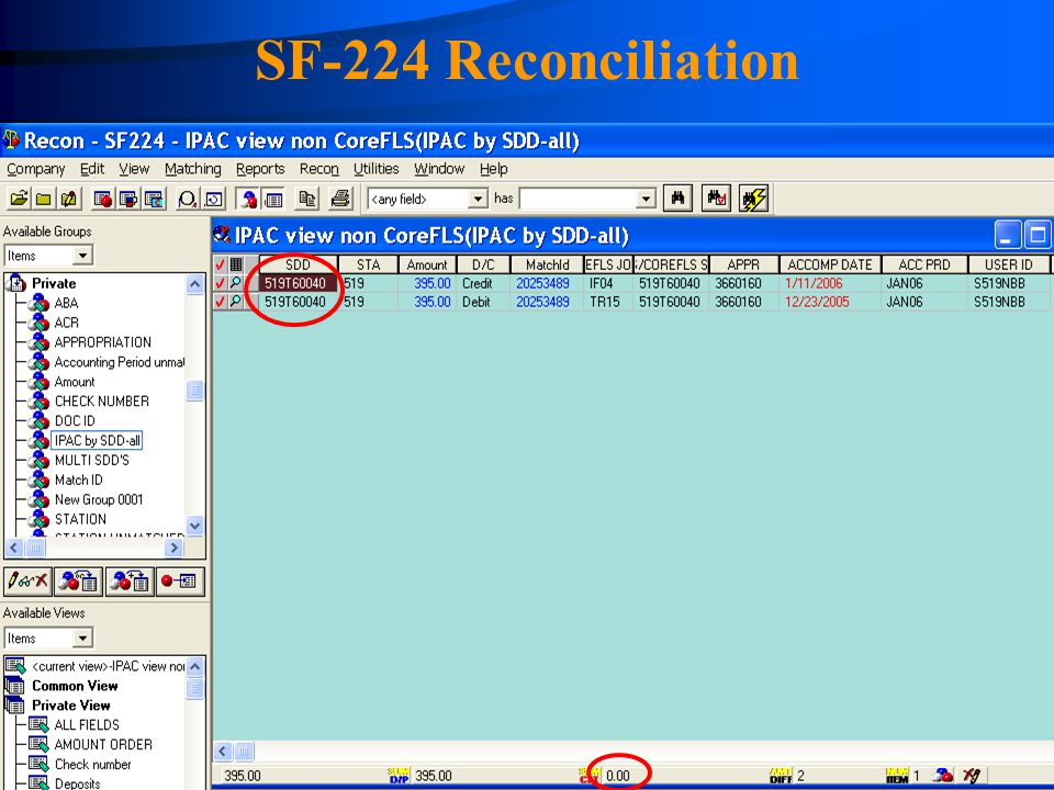 SF-224 Reconciliation FASMatch screen showing the matched item