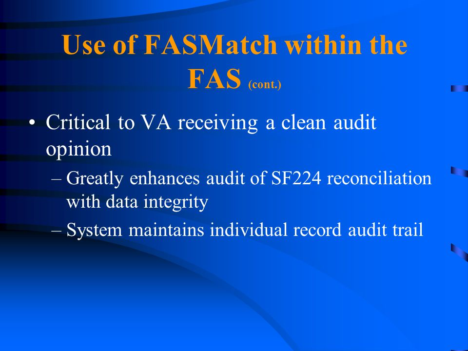 Use of FASMatch within the FAS (cont.)