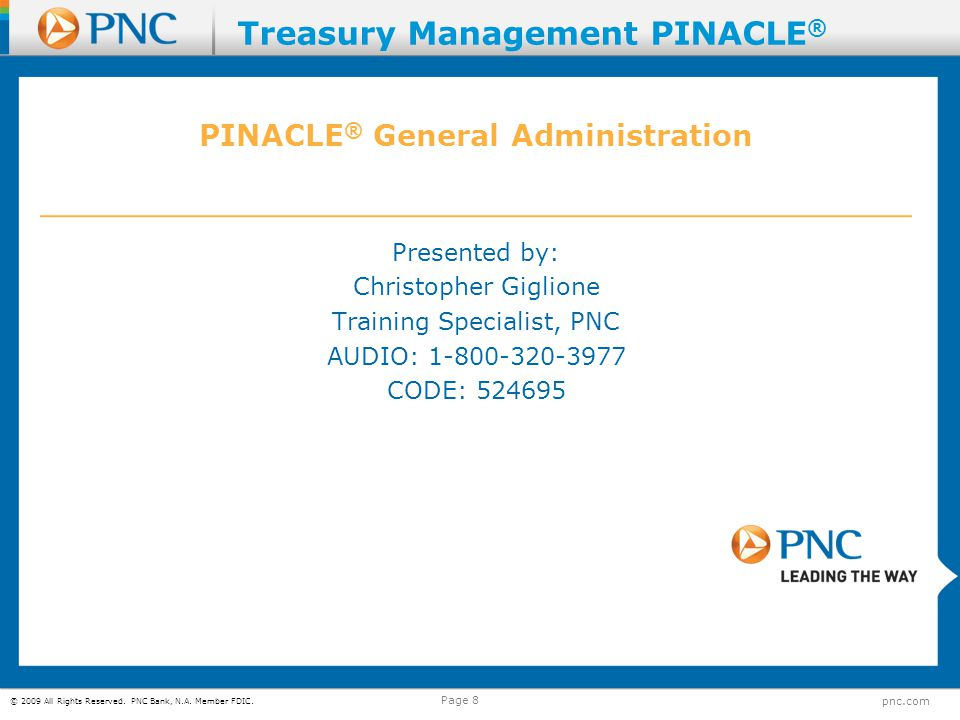PINACLE® General Administration