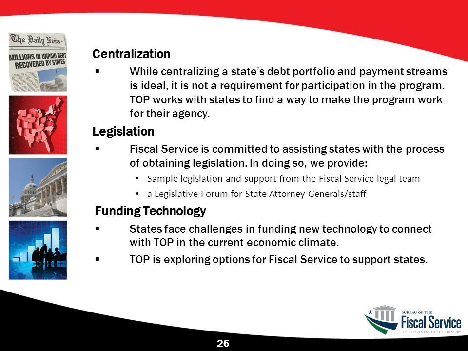 Centralization Legislation Funding Technology