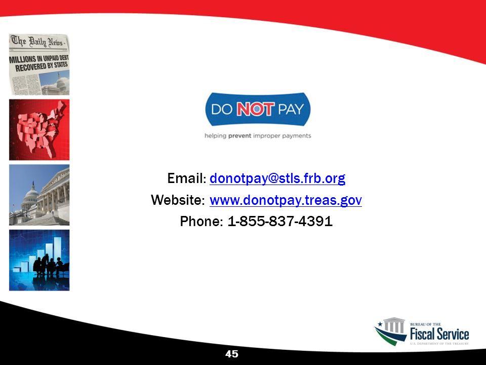 Website: www.donotpay.treas.gov