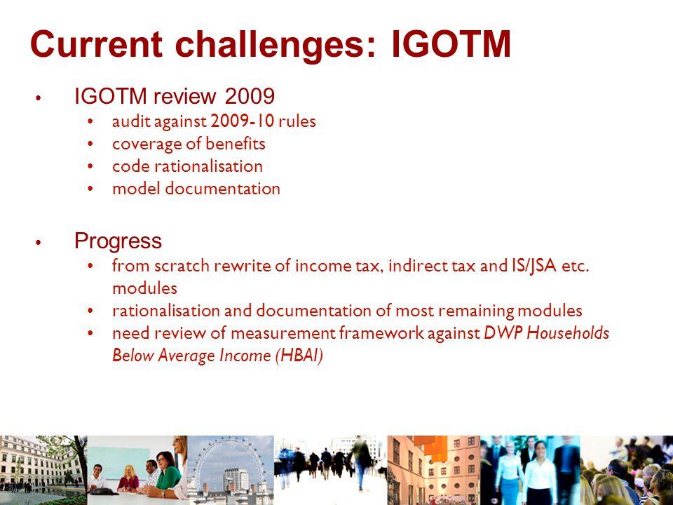 Current challenges: IGOTM