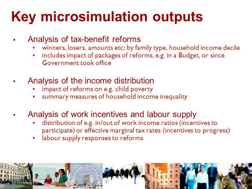Key microsimulation outputs