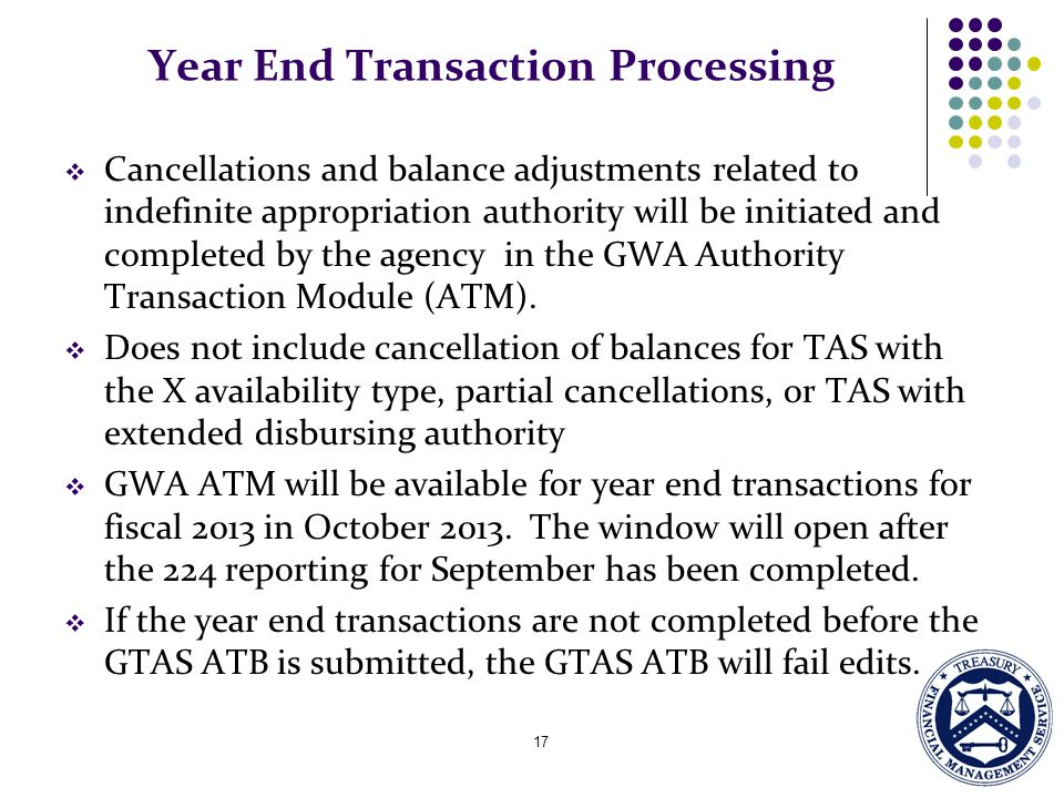 Year End Transaction Processing