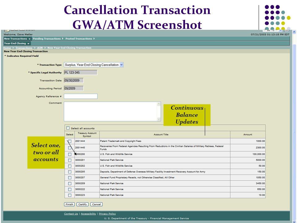 Cancellation Transaction GWA/ATM Screenshot