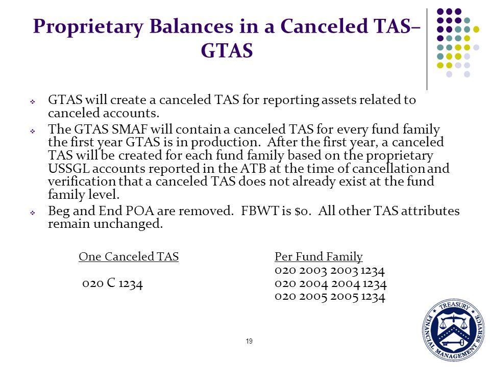 Proprietary Balances in a Canceled TAS– GTAS