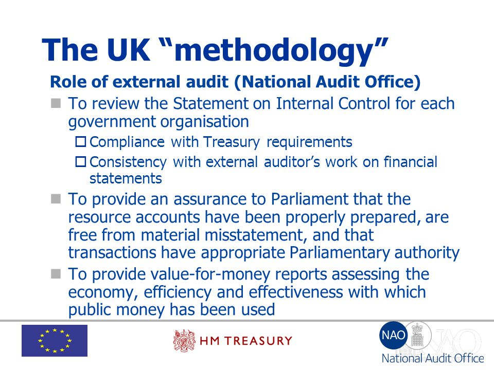 The UK methodology Role of external audit (National Audit Office)