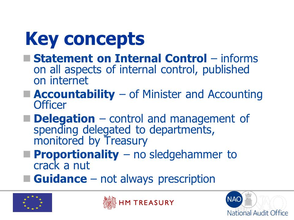 Key concepts Statement on Internal Control – informs on all aspects of internal control, published on internet.