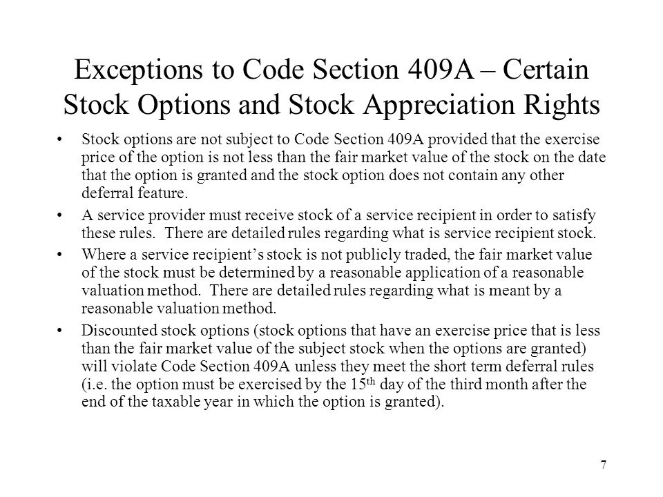 409a discounted stock options
