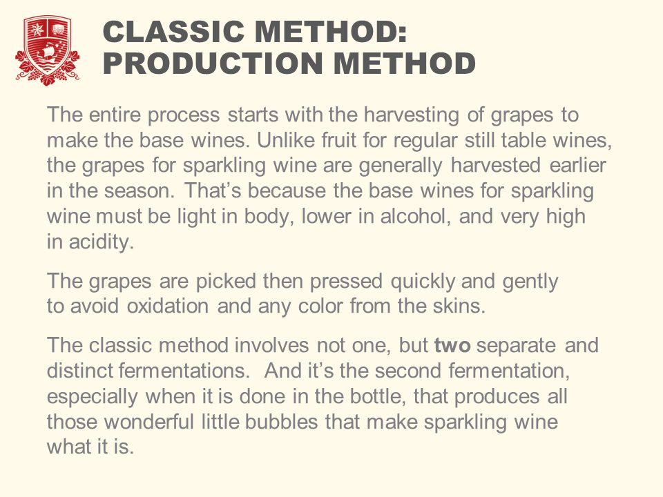 CLASSIC METHOD: PRODUCTION METHOD