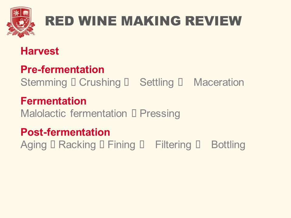 RED WINE MAKING REVIEW Harvest