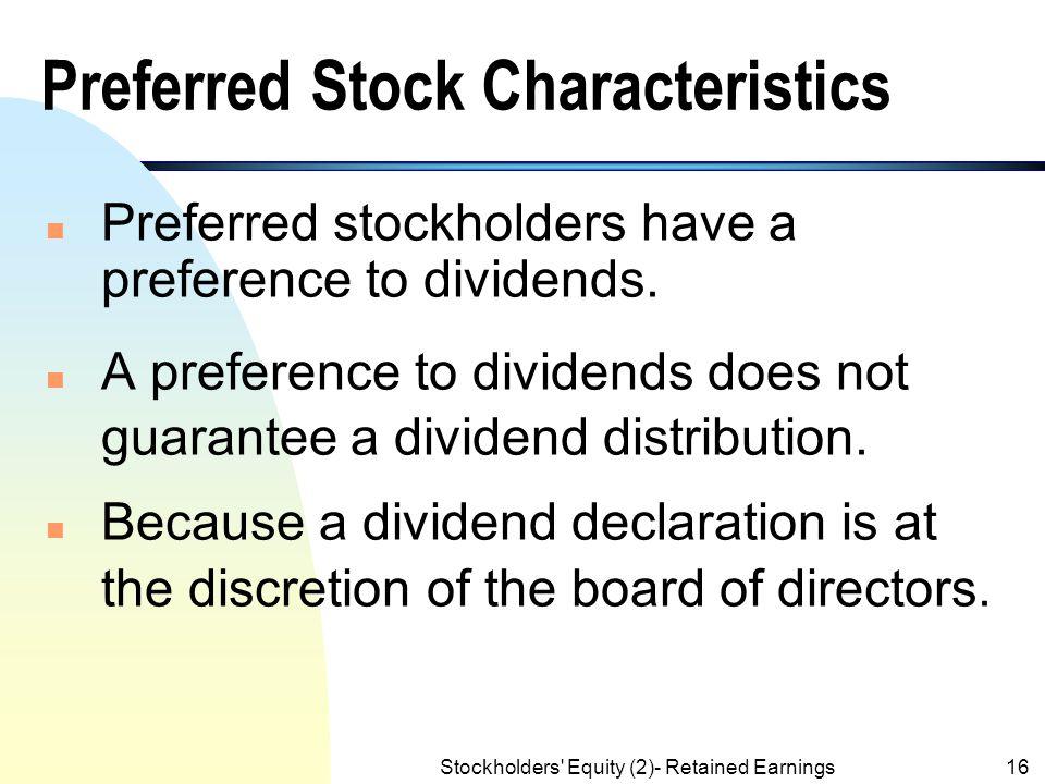 Preferred Stock Characteristics