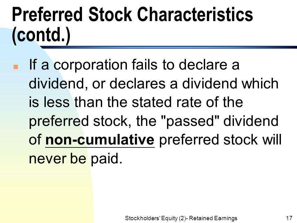 Preferred Stock Characteristics (contd.)