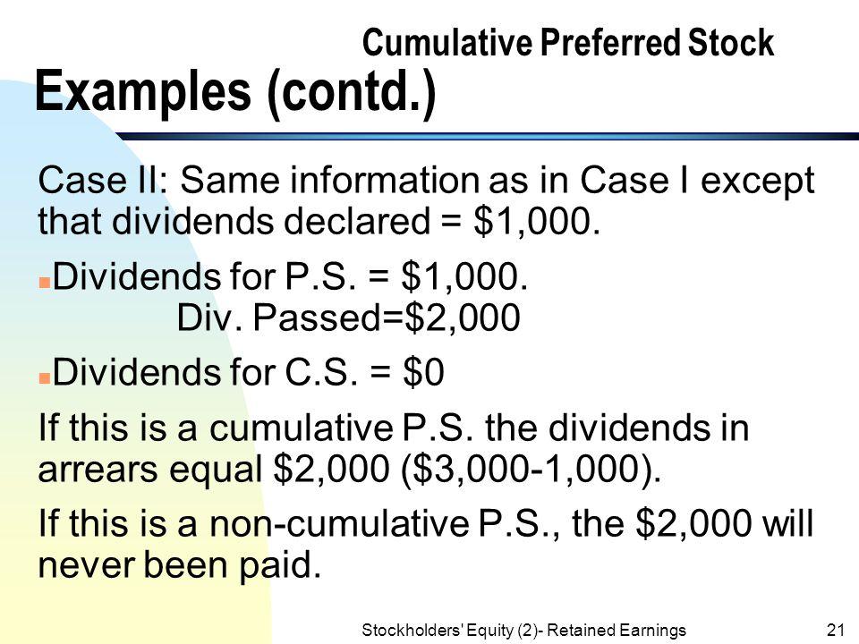 Cumulative Preferred Stock Examples (contd.)