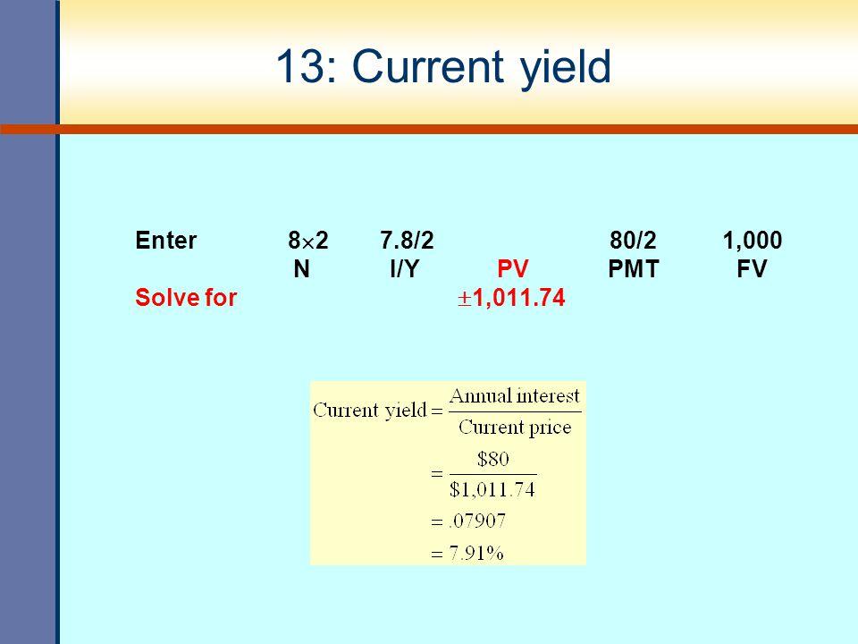 13: Current yield Enter 82 7.8/2 80/2 1,000 N I/Y PV PMT FV