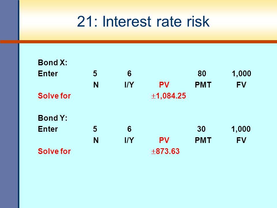 21: Interest rate risk Bond X: Enter 5 6 80 1,000 N I/Y PV PMT FV