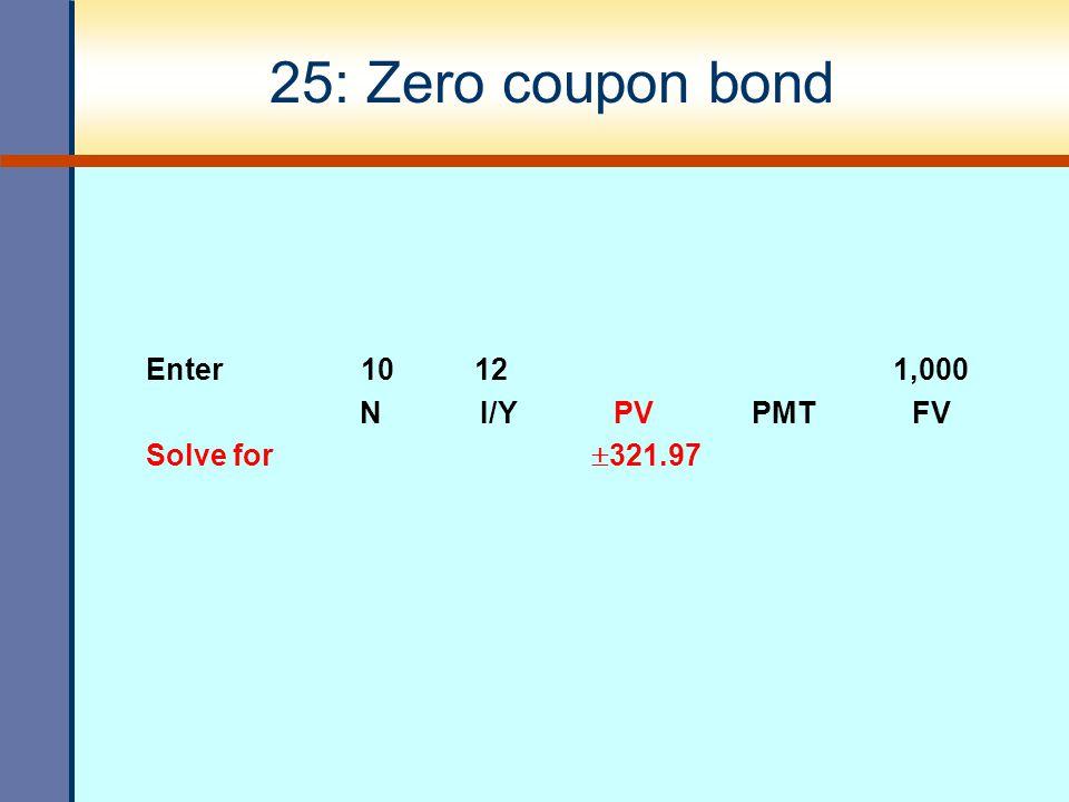 25: Zero coupon bond Enter 10 12 1,000 N I/Y PV PMT FV