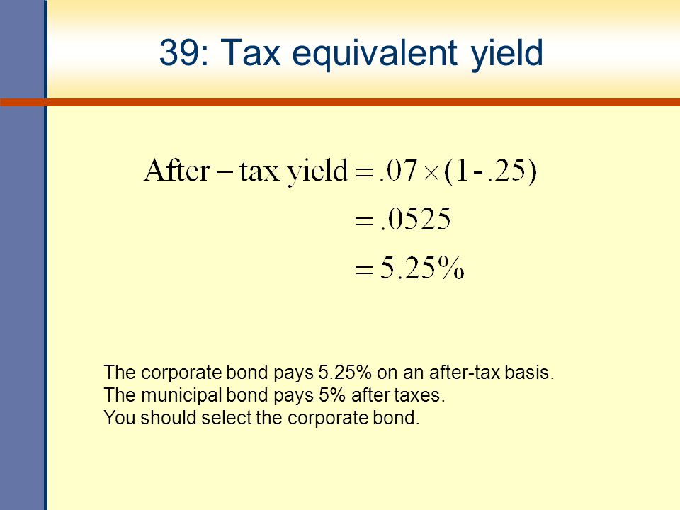 39: Tax equivalent yield The corporate bond pays 5.25% on an after-tax basis. The municipal bond pays 5% after taxes.
