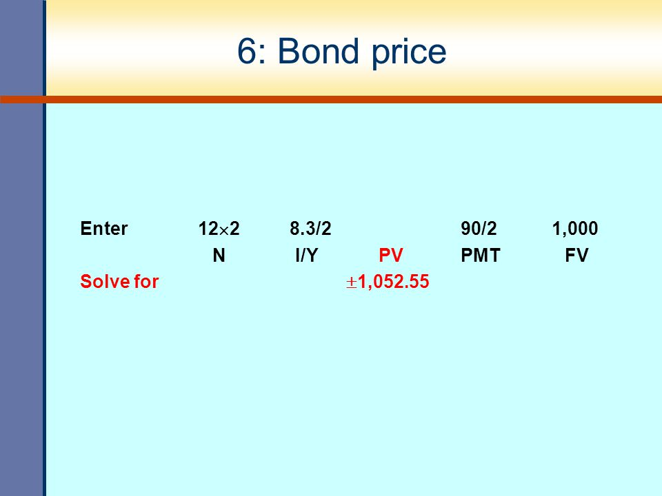 6: Bond price Enter 122 8.3/2 90/2 1,000 N I/Y PV PMT FV
