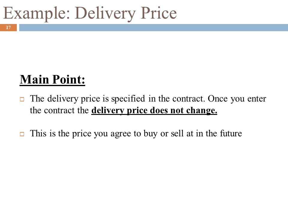Example: Delivery Price