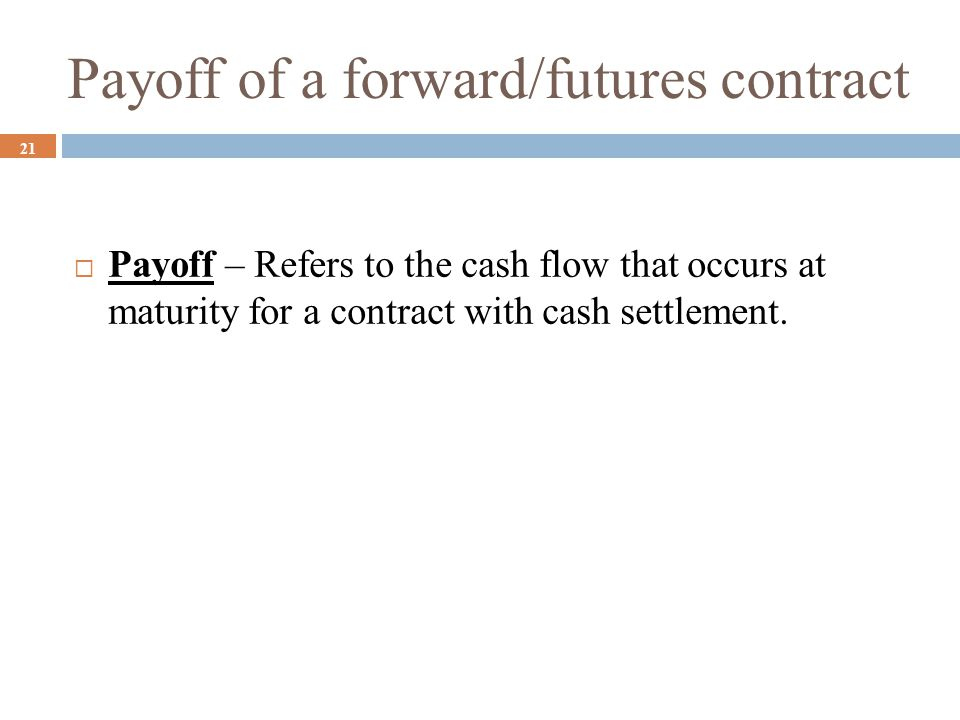 Payoff of a forward/futures contract