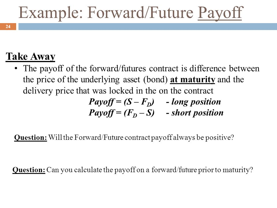 Example: Forward/Future Payoff