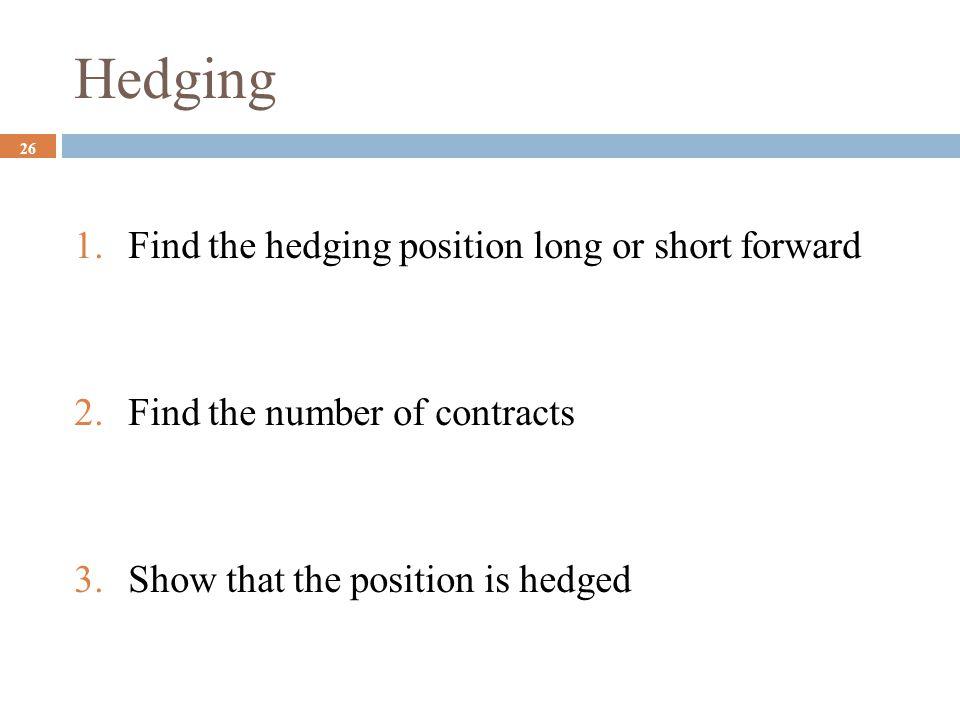 Hedging Find the hedging position long or short forward