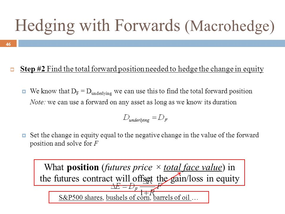 Hedging with Forwards (Macrohedge)