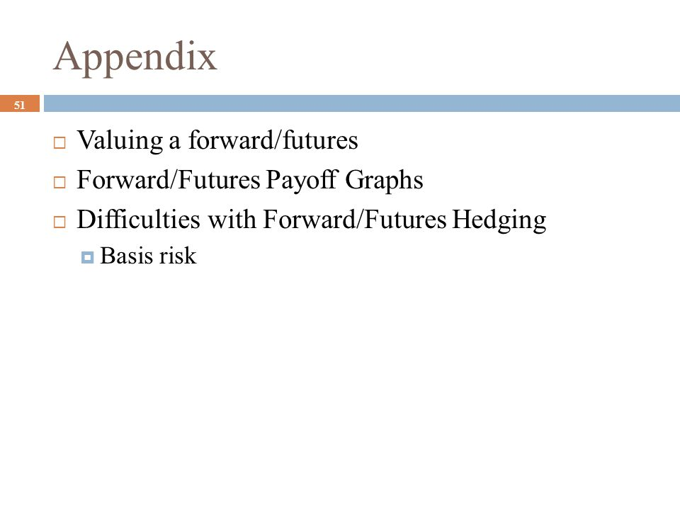 Appendix Valuing a forward/futures Forward/Futures Payoff Graphs