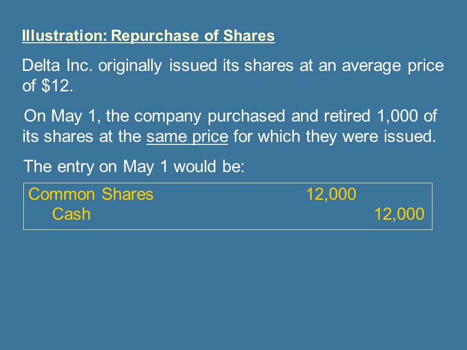 The entry on May 1 would be: Common Shares 12,000 Cash 12,000