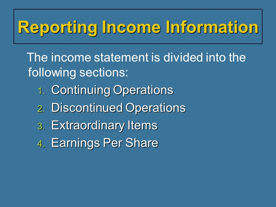Reporting Income Information