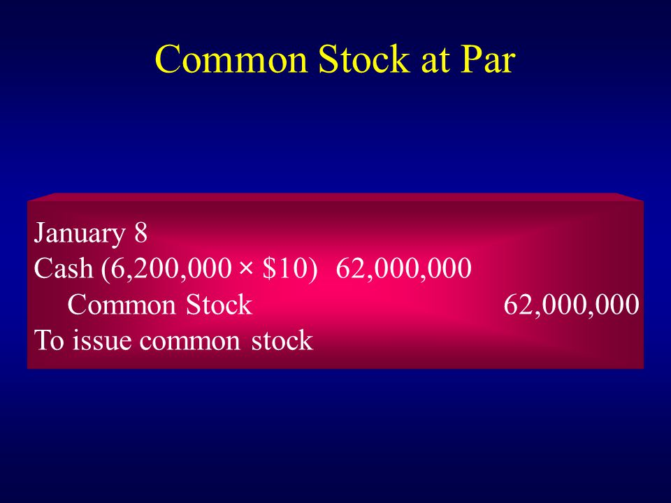 Common Stock at Par January 8 Cash (6,200,000 × $10) 62,000,000