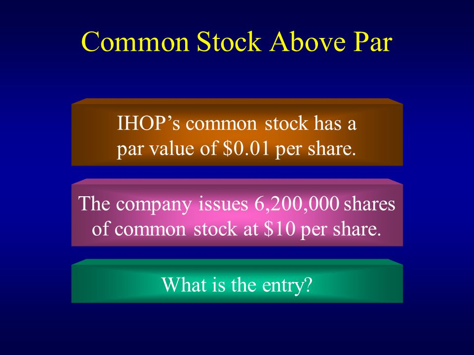 Common Stock Above Par IHOP's common stock has a