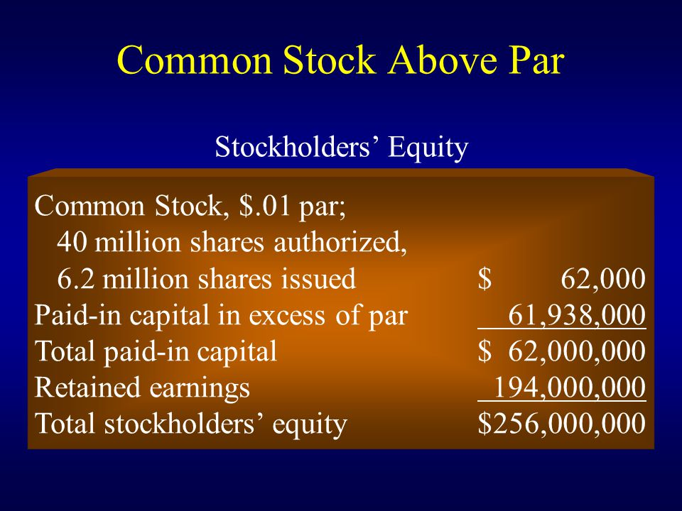 Common Stock Above Par Stockholders' Equity Common Stock, $.01 par;