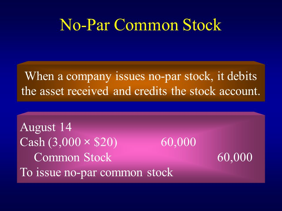 No-Par Common Stock When a company issues no-par stock, it debits