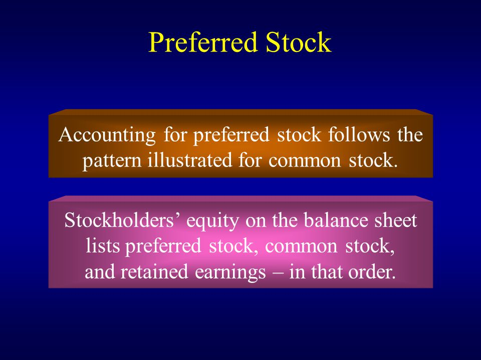 Preferred Stock Accounting for preferred stock follows the
