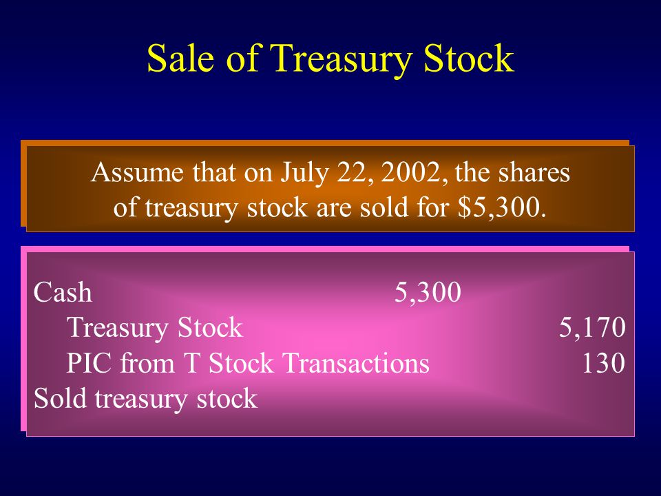 Sale of Treasury Stock Assume that on July 22, 2002, the shares