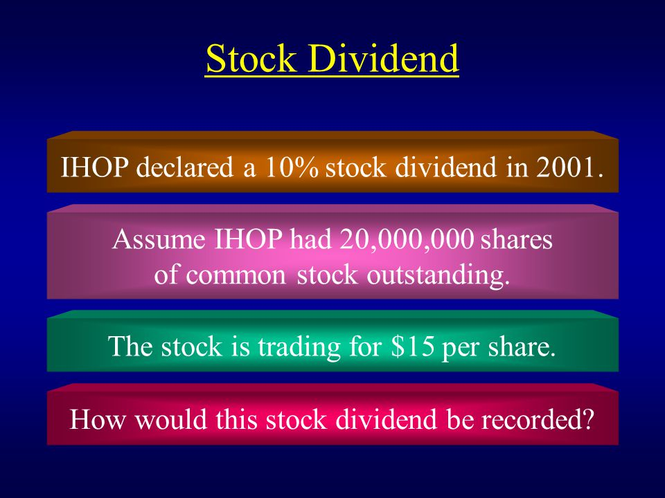 Stock Dividend IHOP declared a 10% stock dividend in 2001.