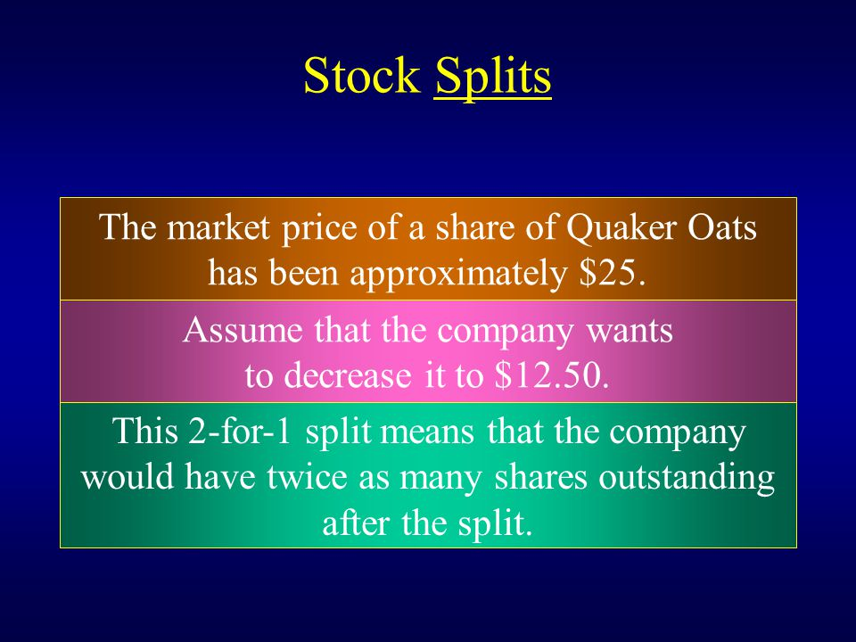 Stock Splits The market price of a share of Quaker Oats