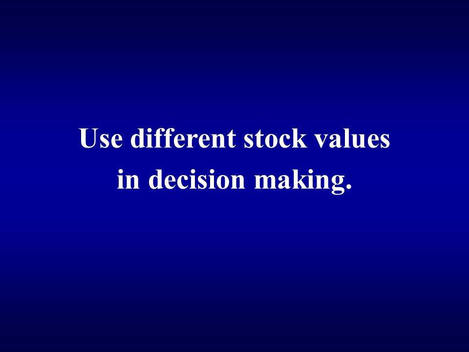 Use different stock values