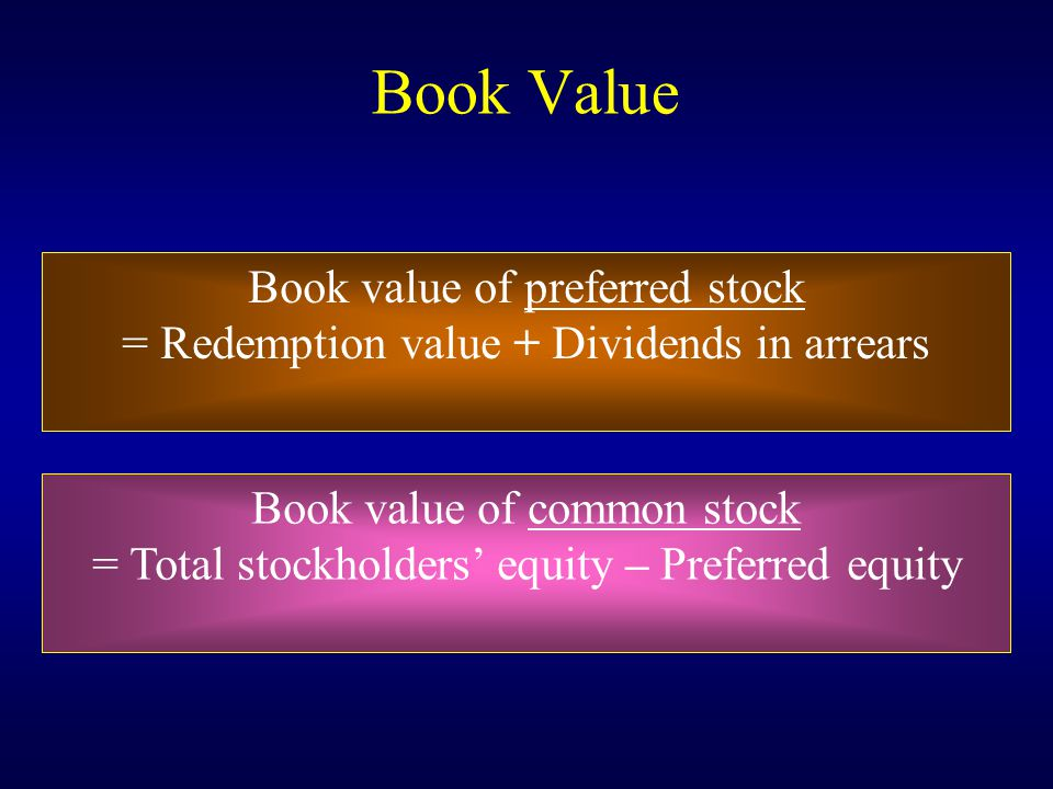 Book Value Book value of preferred stock
