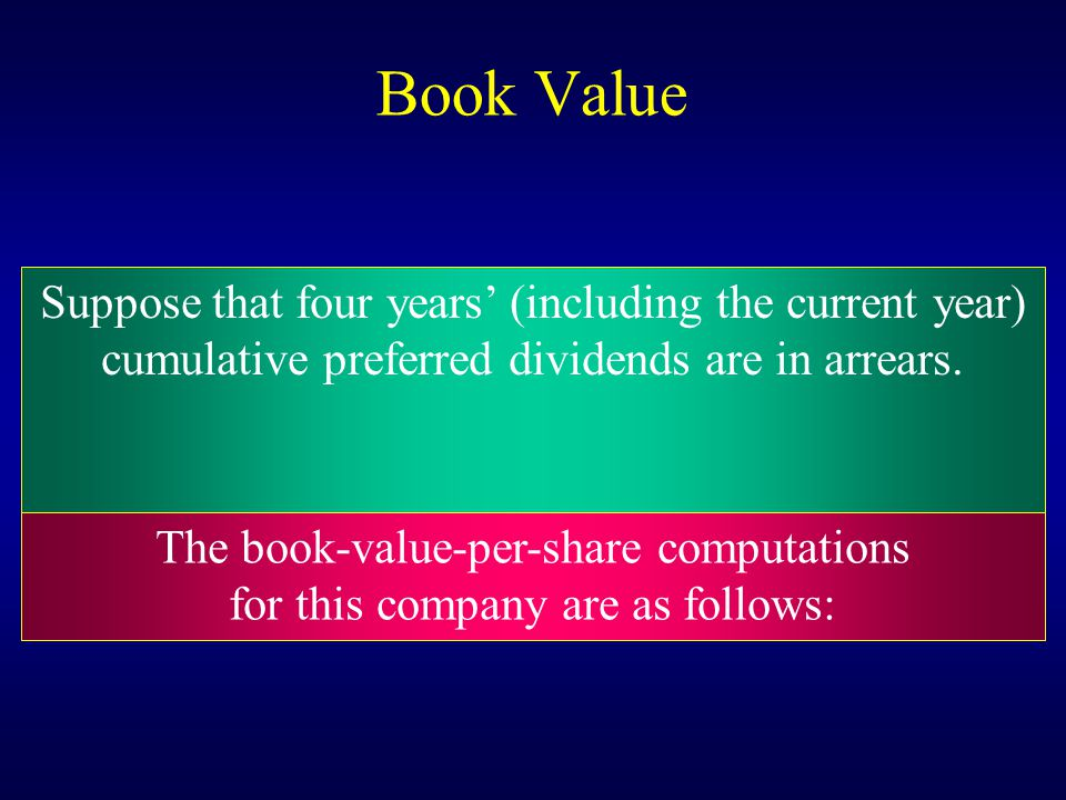 Book Value Suppose that four years' (including the current year)