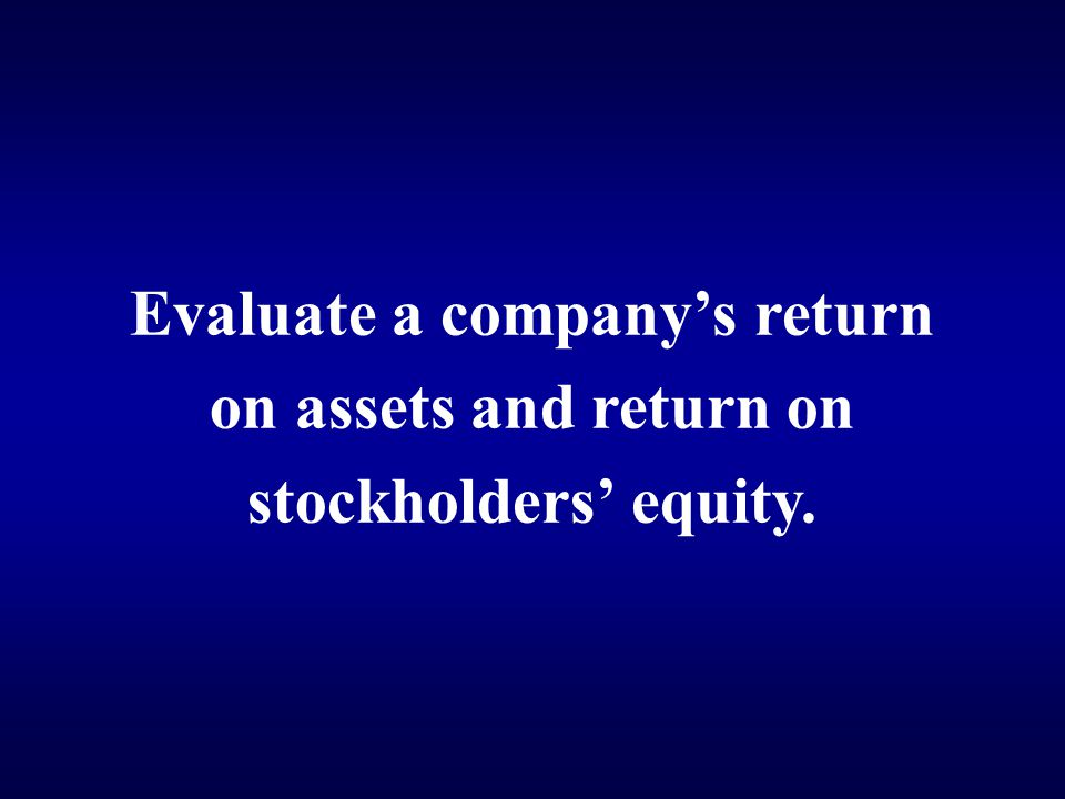 Evaluate a company's return