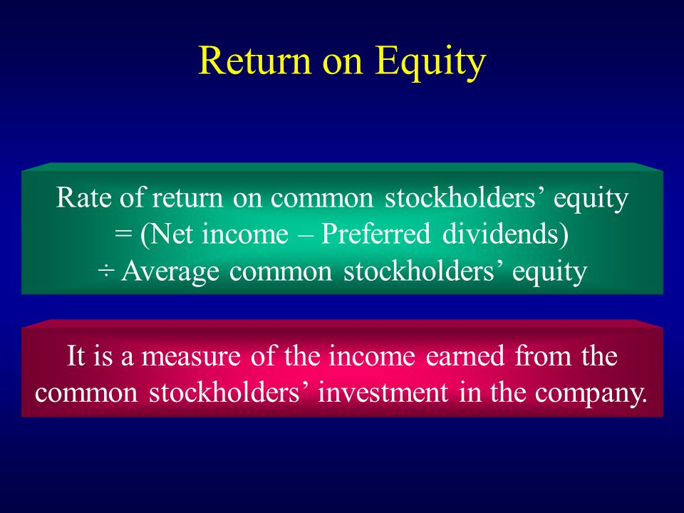 Return on Equity Rate of return on common stockholders' equity