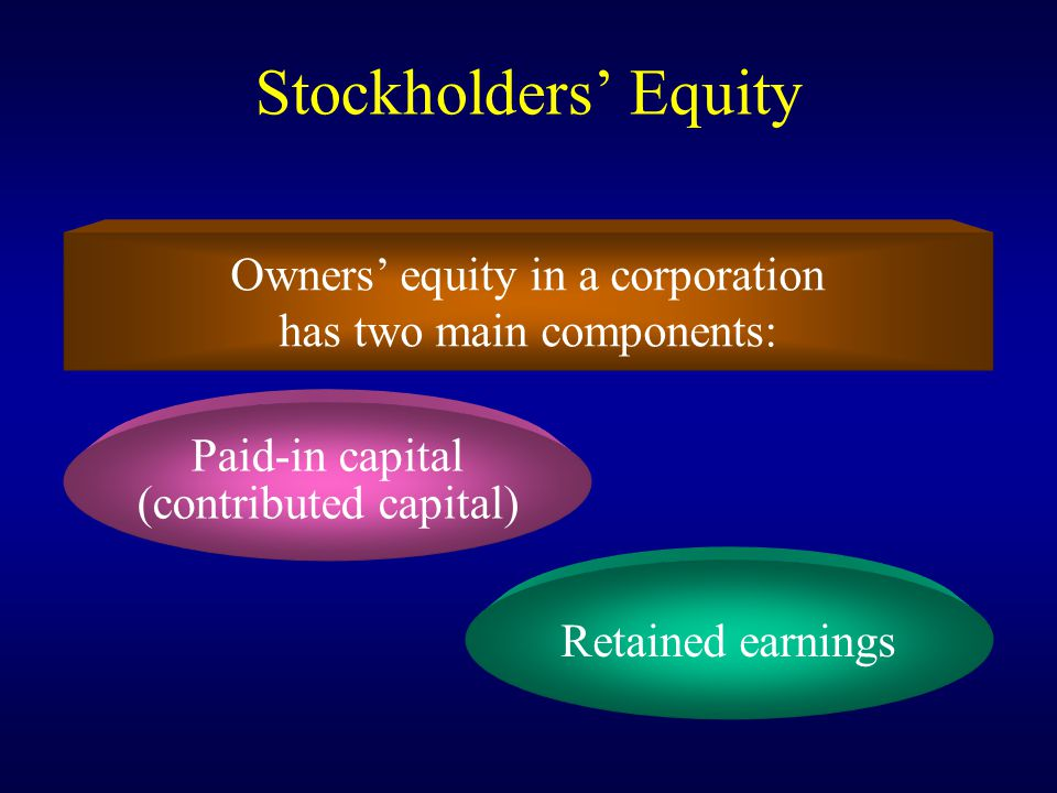 Stockholders' Equity Owners' equity in a corporation