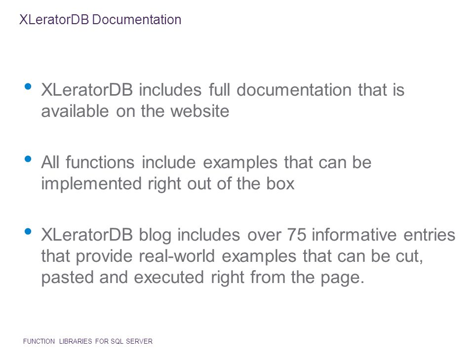 XLeratorDB Documentation