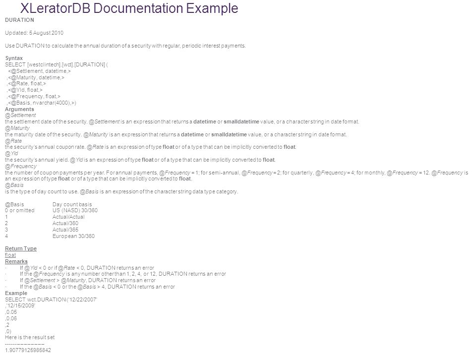 XLeratorDB Documentation Example