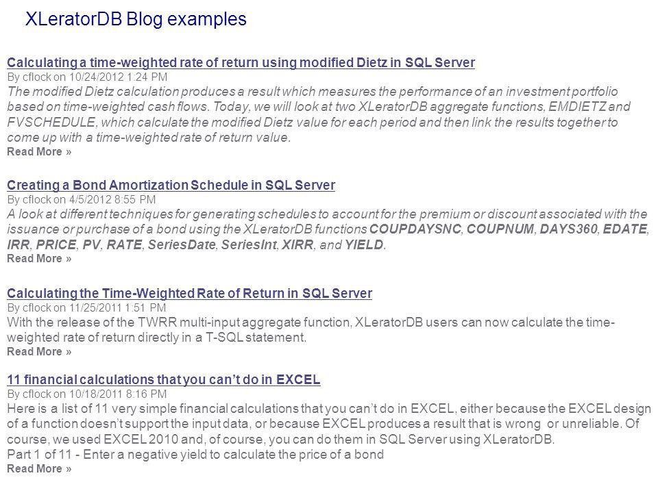 XLeratorDB Blog examples